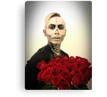 Halloween Skull Tux And Roses Canvas Print