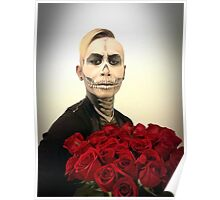 Halloween Skull Tux And Roses Poster