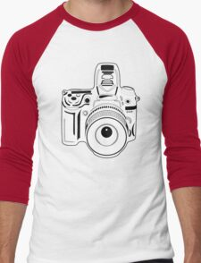 Black and White Camera Men's Baseball ¾ T-Shirt