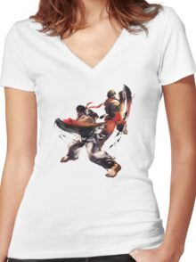 Street Fighter - Ken & Ryu Women's Fitted V-Neck T-Shirt