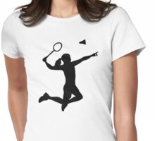 Badminton woman girl Womens Fitted T-Shirt