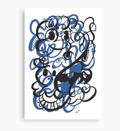 Doodle of the day II – blue version Canvas Print