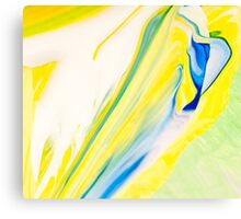 Yellow and Blue Abstract Paint  Canvas Print