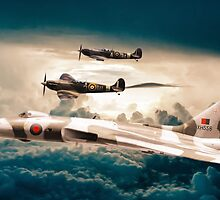 Vulcan and Spitfires in formation by Sebastien Coell