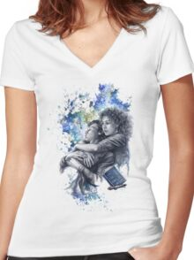 Time and Space Women's Fitted V-Neck T-Shirt