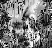 May showers, melting floral skull in grey by KristyPatterson
