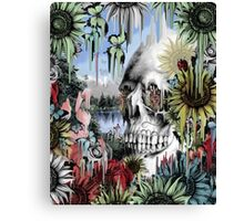 May showers, melting floral skull Canvas Print