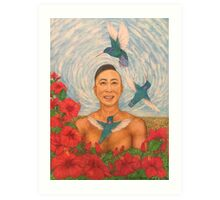 Spring Amazed By The Hummingbirds Drawing Art Print