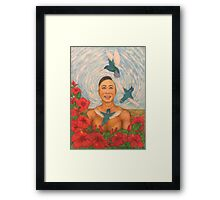 Spring Amazed By The Hummingbirds Drawing Framed Print