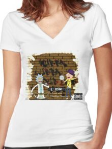 Rick & Morty - Get Schwifty! Women's Fitted V-Neck T-Shirt