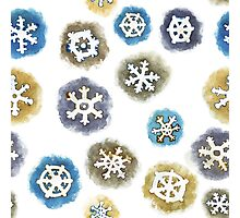 Watercolor Snowflakes Pattern Photographic Print
