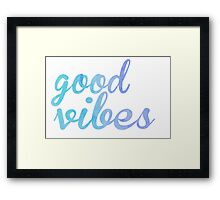 Good Vibes watercolor blue Framed Print