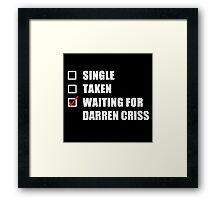 Waiting For Darren Criss Framed Print