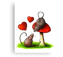 Mice in Love, Toadstool, Hearts, Cute Artwork Canvas Print