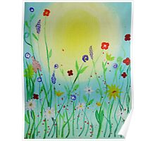 Sunny country flowers acrylic painting Poster