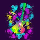 Rainbow Guitar Music Themed Graphic by Artification