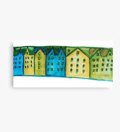 Watercolor houses Canvas Print