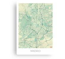 Madrid Map Blue Vintage Canvas Print