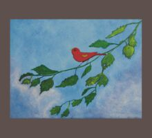 Little red bird acrylic painting One Piece - Short Sleeve