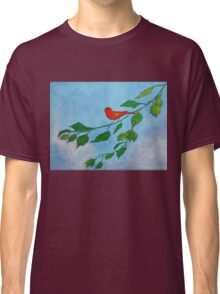 Little red bird acrylic painting Classic T-Shirt