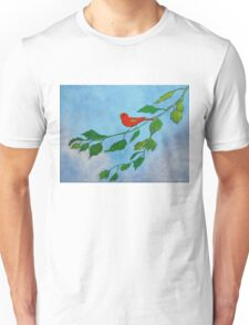 Little red bird acrylic painting Unisex T-Shirt