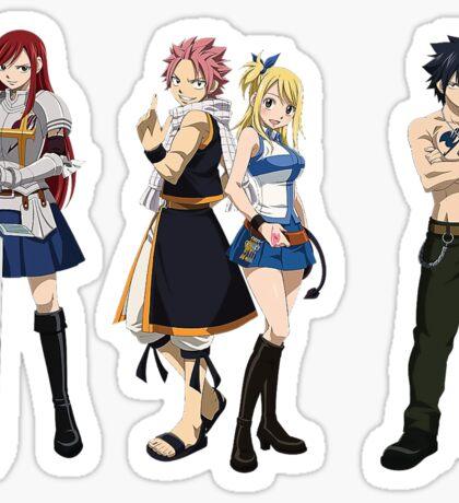 Fairy Tail natsu Epic - small natsu, Lucy, Erza and Gray epic Sticker