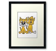 brothers 2 funny little sweet cute dogs couple team buddies Framed Print