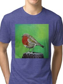Young robin perched on a tree stump acrylic painting Tri-blend T-Shirt