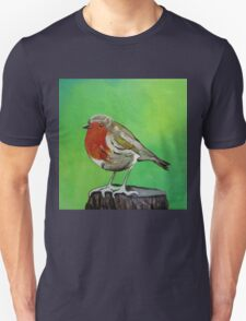 Young robin perched on a tree stump acrylic painting Unisex T-Shirt