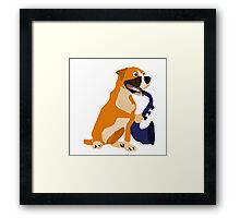 Funny Cool Boxer Dog Playing Saxophone Framed Print