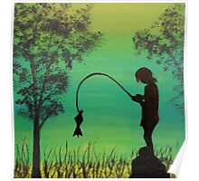Child fishing in the river acrylic painting Poster
