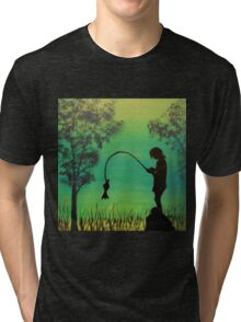 Child fishing in the river acrylic painting Tri-blend T-Shirt
