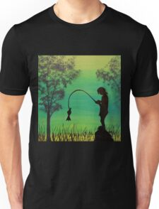 Child fishing in the river acrylic painting Unisex T-Shirt