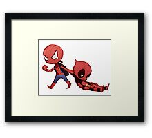 Spidey And Pool Framed Print