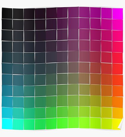 Rainbow squares brights Poster