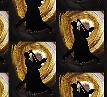 Ballroom Dancers On Gold Swirl by DC-DESIGN