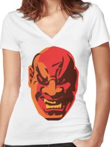 Scary Japanese Mask Women's Fitted V-Neck T-Shirt