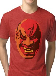 Scary Japanese Mask Tri-blend T-Shirt