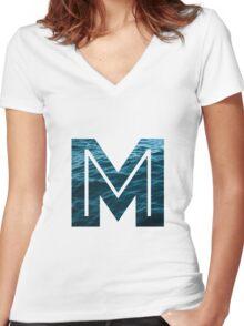 """The Letter """"M"""" Ocean Women's Fitted V-Neck T-Shirt"""