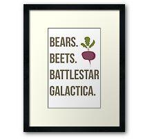 Bears. Beets. Battlestar Galactica - The Office Framed Print