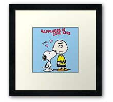 Charlie Snoopy Happines Love Kiss Framed Print