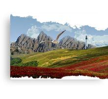 Landscape With Seagull-Oil Paint Effect PNG Canvas Print