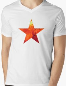 Flaming Star Mens V-Neck T-Shirt