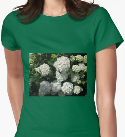 Snowballs in Summer - Beautiful White Hydrangea Blossoms Womens Fitted T-Shirt
