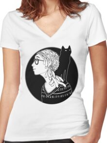 The Watcher and the Dreamer Women's Fitted V-Neck T-Shirt
