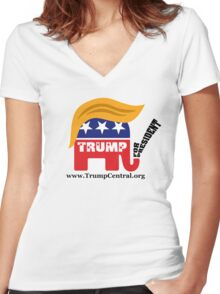 Donald Trump For President GOP Elephant Hair ©TrumpCentral.org Women's Fitted V-Neck T-Shirt