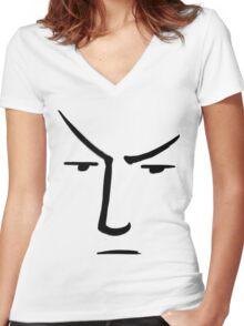 Minimalist Line Spock With Raised Eyebrow - Star Trek Women's Fitted V-Neck T-Shirt