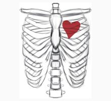 Rib cage Sketch with Heart Kids Tee
