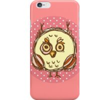 Funny owl pink polka dot iPhone Case/Skin