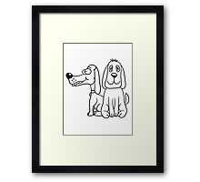 2 sitting funny little sweet cute dogs couple team buddies Framed Print